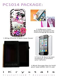 Package Deal PK21261014: 3D Purple Hello Kitty Bling Swarovski Crystals Cell Phone Case Cover Compatible for iPhone 4G and iPhone 4S + Anti-Dust Stoppers + Front and Back Screen Protectors + Black Storage Box