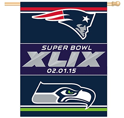 Patriots vs Seahawks Superbowl Super Bowl XLIX 49 Arizona 27x37 Flag or Banner (Seahawks Super Bowl 49 compare prices)