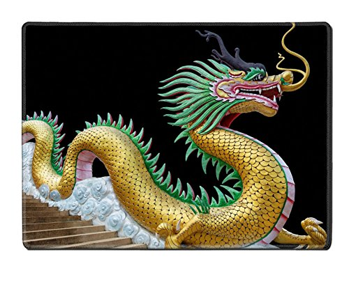 Luxlady Natural Rubber Placemat Kitchen Table 15.8 x 12 x 0.2 inches IMAGE ID: 20212465 Giant chinese style dragon statue on black background