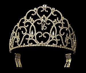 Kat Swarovski Crystal Gold Quinceanera Sweet 16 Tiara
