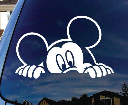 """Mickey Mouse Peeking Car Window Vinyl Decal Sticker 5"""" Wide"""
