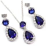 FC White Gold GP Blue Swarovski Elements Crystal CZ Teardrop Bridal Necklace Dangle Earring Jewelry Set