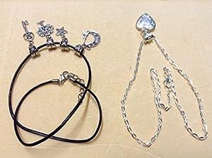 Spécial Saint Valentin: Cœur Porte Photo argenté avec sa chaîne + un Cordon de Cuir avec 4 Pendentifs Interchangeables + 1 cadeau surprise!