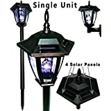 Black Vintage Hexagon Light Solar Lantern Post Garden Stake With Wall Mount Solar Lantern Lights