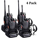 Winshope Baofeng Radio BF-888s Two Way Radio Charger Rechargeable Walkie Talkie Handheld 2 Way Radio 16 Channels Vhf/UHF 400-470MHz Walkie Talkies Long Distance Radios With Headsets Mic(Pack of 4)