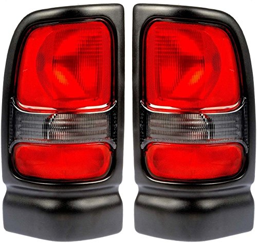 1994-2001 Dodge Ram 1500 (without Sport Package) & 1994-2002 Ram 2500 3500 Pickup Truck Taillight Taillamp Rear Brake Tail Light Lamp Set Pair Left Driver AND Right Passenger Side (1994 94 1995 95 1996 96 1997 97 1998 98 1999 99 2000 00 2001 01 2002 02)