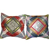 2 Red Blue Vintage Silk Sari Toss Pillow Cushion Coversby Mogulinterior