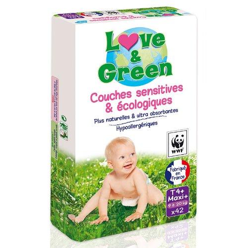 Couches sensitives et écologiques taille 4 + LOVE&GREEN, pack x42