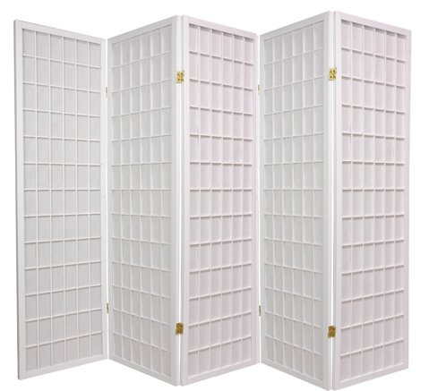 Best Deal Value Office Cubicle Divider - 5ft. Japanese Privacy Screen Portable Room Partition - 5 Pnl White
