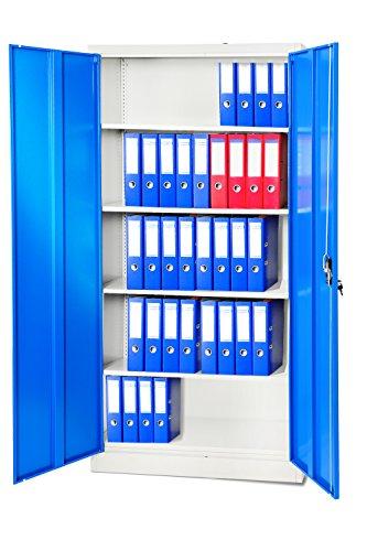 4er-Set-Aktenschrank-195-cm-Metallschrank-Broschrank-Werkzeugschrank-Universalschrank-Flgeltrschrank-Stahlschrank-Stahlblech-Lagerschrank-Ideal-fr-Bro-Verschliebar-NEU-blaugrau