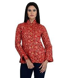 Aarohee Women's Block Printed Cotton Quilted Jacket (AAC34_Red_Medium)