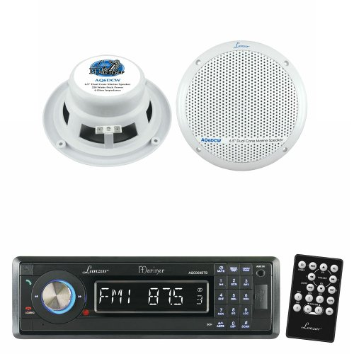 Lanzar Marine Receiver And Speaker System Package For Your Boat, Pool, Deck, Patio, Etc. - Aqcd60Btb Am/Fm-Mpx In-Dash Marine Detachable Face Radio Cd/Sd/Mmc/Usb Player & Bluetooth Wireless Technology - Aq6Dcw 360 Watts 6.5
