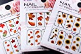 Autumn Leaves Nail Art Water Slide Tattoo Sticker:::Crimson Leaves And Flowers: Maple / Rowan / Hawthorn / Sunflower- 3 Pack With Bonus