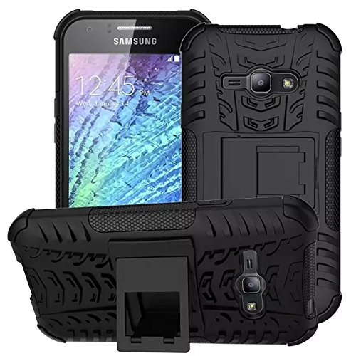 Samsung Galaxy J1 Ace Case, IVSO® Samsung Galaxy J1 Ace Case - High Quality Hybrid KickStand Case for Samsung Galaxy J1 Ace Smartphone (Black) (Galaxy Ace Kickstand Cases compare prices)