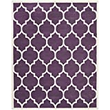 Safavieh Chatham Collection CHT733F Handmade Wool Area Rug, 8-Feet by 10-Feet, Purple and Ivory