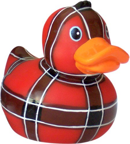 Red Plaid Rubber Ducky Squeak Toy for Dogs