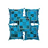 Rajrang Sky Blue Cotton Patch Work Cushion Cover Set Of 5 Pcs #Ccs05694