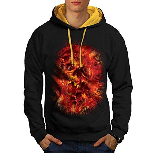 Cranio Bestia Flames Inferno Anima Uomo Nuovo Nero (Cappuccio Dorato) XL Contrasto Felpa Con Cappuccio | Wellcoda