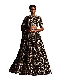 Fabron Black sequins embellished raw silk lehenga choli & dupatta set.