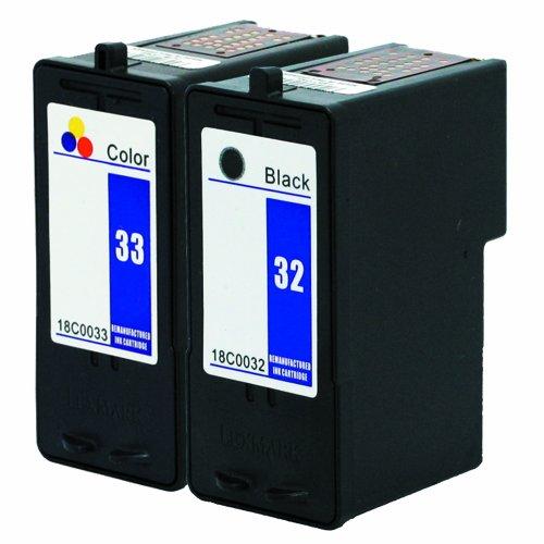Focus Brand Remanufactured Lexmark 32/33 Tintenpatronen 2-Pack: 1x schwarze/1x farbig Tintenpatrone