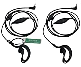 2 X SUNDELY Clip Ear/Ear Hook Headset Earpiece with VOX-PTT Switch for Motorola Radio/Walkie Talkie EM1000 MH230R MJ270R TKLR T3 T4 T5 T6 T7 1-pin