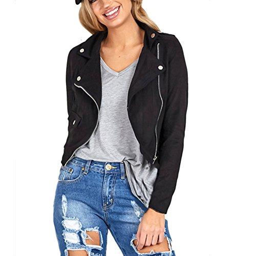 ropalia-vestes-femme-blazer-manteau-zip-blouson-courte-suede-col-rabattu-m-noir