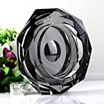 Amlong Crystal Octagon Black Large Crystal Ashtray 6 Inch for Cigarettes or Cigars with Gift Box