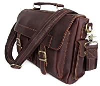 Vicenzo Napoleon Full Grain Leather Dark Brown Briefcase/ Messenger /Laptop Bag