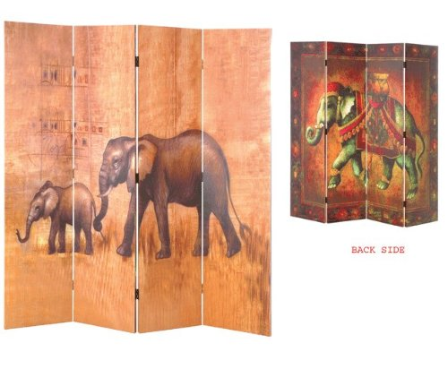 SAFARI 4 Pane Wooden Framed and Double-Sided Decorated Photo Fabric Room Divider / Splitter Screen