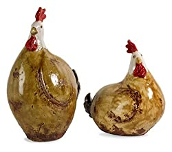 Set of 2 Country Farm Table Top Ceramic Chicken Accents