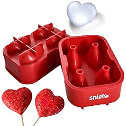 Chocolate Molds, 5CM 3D Heart Maker Candy Molds / Ice Molds / Cake Molds - BONUS, Silicone Funnel & 4 Heart Cupcake Liners - Freeze, Bake and much more