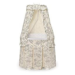 Cozy and Comfortable Badger Basket Majesty Rocking Baby Bassinet with Canopy Black Toile Bedding, Great For Baby Boys and Girls