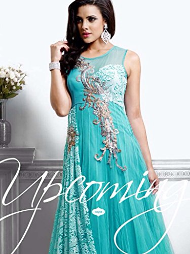 Unique Fashion Station Women's Net Semi Stitched Anarkali Dress Material (UFS071215A030_Light Blue_Free Size)