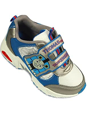 "Thomas & Friends ""Tank Engine"" Train Toddler Velcro Athletic Blue Shoes - Size 5"