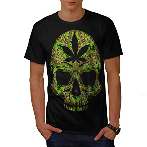 Cannabis-Skull-Head-Pot-Skeleton-Men-NEW-Black-S-5XL-T-shirt-Wellcoda
