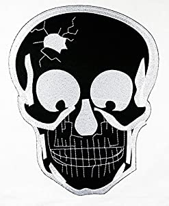 Big Skull Biker Patch Embroidered Iron on Hat Jacket Hoodie Backpack Ideal for Gift/ 19cm(w) X 24cm(h)