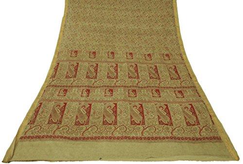 ethnique-pure-soie-vintage-saree-indien-paisley-imprime-beige-sari-craft-tissu