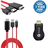 Captcha LG G4 Compatible Certified Micro USB To Hdmi 1080p Hdtv Adapter Cable With Anycast Wireless WIFI Display Dongle,High Speed HDMI Miracast Dongle (1 Year Warranty)