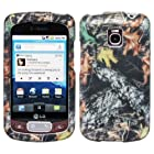 Dry Oak Wood Leaves Camouflage Wild Outdoor Design Rubberized Snap on Hard Shell Cover Protector Faceplate Cell Phone Case for T-Mobile LG Optimus T P509 / LG Thrive / AT&T LG Phoenix P505 + LCD Screen Guard Film