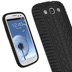 igadgitz Noir Pneu Étui Housse Silicone pour Samsung Galaxy S3 III i9300 Android Smartphone + Protecteur d'écran