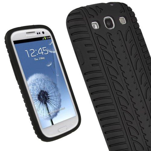 igadgitz Schwarz Silikon Skin Tasche Hülle mit Reifen Profil für Samsung Galaxy S3 III i9300 Smartphone Handy + Display Schutzfolie