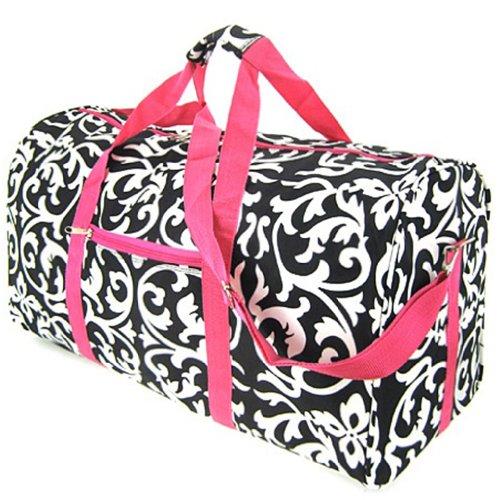 "Damask Hot Pink Duffel Bag 21"""