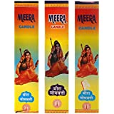 Meera Gruh Udyog Wax Candle Set (2 Cm X 10 Cm X 30 Cm, Multicolour, Pack Of 3)