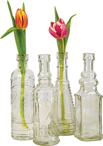 Luna Bazaar Small Vintage Glass Bottle Set (7-Inch, Clear, Set of 4) - Flower Bud Vase Set - For Home Decor, Party Decorations, and Wedding Centerpieces