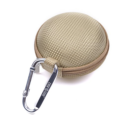 Case Star ® Round Hard Eva Case Bag And Silver Color Climbing Carabiner For Earphone Headset Mp3/Mp4 Bluetooth Earbuds Memory Cards Usb Flash Drive And Lens Filter With Mesh Pocket, Zipper Enclosure, And Durable Exterior With Case Star Cost-Free Velvet Ce