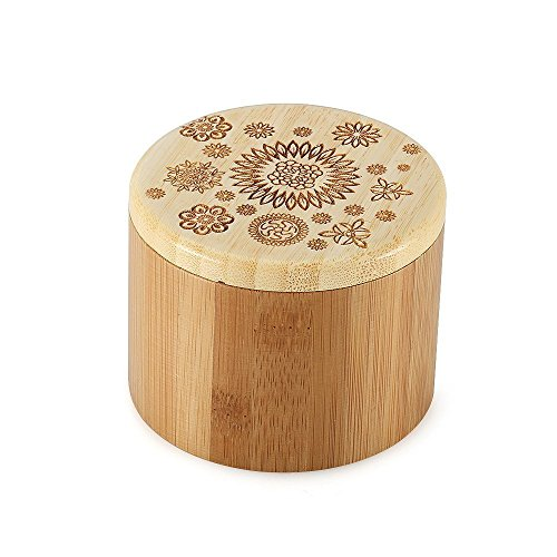 Magic Vida Bamboo Jar Salt Box with Lid Laser-Etched Salt Herbs Spices Jewelry Container Storage Round Bamboo Box with Orchid Pattern (Orchid) (Salt Bamboo Container compare prices)