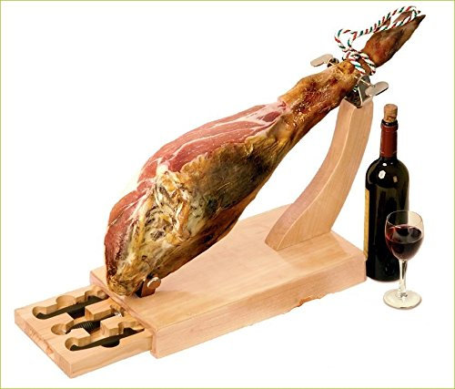 Fackelmann-Jamonero-de-madera-con-cajn-y-cuchillos