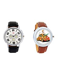 Gledati Men's White Dial And Foster's Women's White Dial Analog Watch Combo_ADCOMB0001755