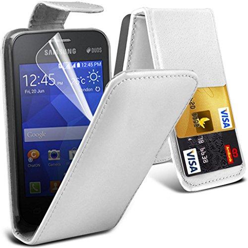 Brillant exécutif Samsung Note 4 flip blanc Portefeuille Housse en cuir synthétique avec deux emplacements de carte pour Samsung Note 4