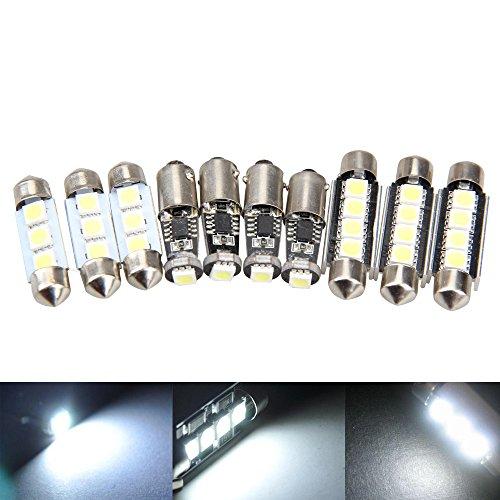 Ecoolbuy 10Pcs High Power White Led Error Free Interior Light Kit For Bmw E39